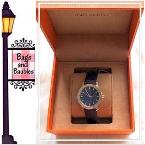 TORY BURCH Gigi Round Navy Watch, New in Box